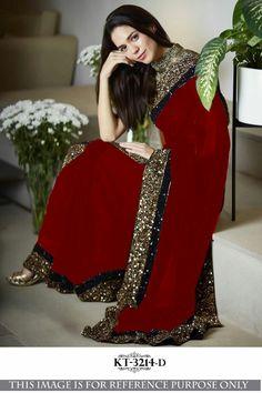 3c1594dd41 Elegant Saree, Georgette Sarees, Chiffon Saree, Pakistani Dresses, Indian  Sarees, Indian
