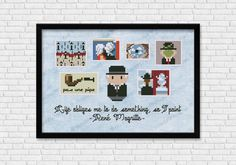 Mini Artists Galleries - René Magritte cross stitch pattern by Cloudsfactory