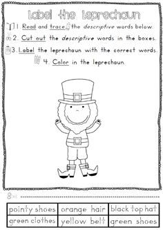 Patrick's Day Reading and Writing Worksheets - 36 pages Kindergarten Themes, Classroom Activities, School Holidays, School Fun, Writing Worksheets, Vocabulary Worksheets, Saint Patricks Day Art, Cat In The Hat Party, March Themes