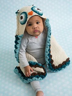 """Crochet - Owl Hooded Blanket - #REC1702 ~ how sweet is this little blankie! ~ measures 37"""" from tip to tip  x 30"""" from hood to bottom ~ great when going outdoors to keep baby warm ~ intermediate skill ~ sorry fellow crcheters pattern is available in written form only ~ use an H hook ~ CROCHET ~ luv the colours in this as well - sooo cute!"""
