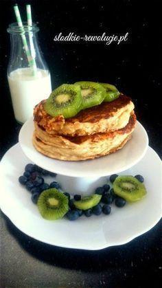 Słodkie Rewolucje: Fit placuszki twarogowe II (bezglutenowe) Diet Recipes, Healthy Recipes, Healthy Food, Pancakes, Food And Drink, Health Fitness, Sweets, Vegan, Cooking