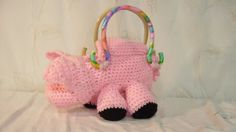 pretty pink crocheted pig purse with plastic tie dye handles by FlyingPigsInc on Etsy