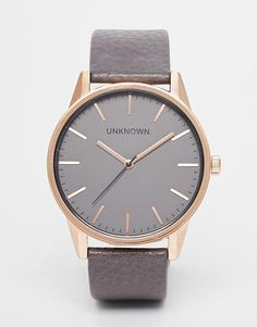 Unknown | UNKNOWN Classic Grey Leather Strap Watch at ASOS