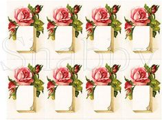 Shabby Chic Pink Rose collage sheet for scrapbook and cards  DC432 by shabbybeautiful, $2.49 USD