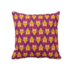 Blue and Orange #Owl Pattern Throw #Pillow #Cushion $67.45
