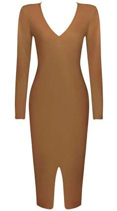 Dream it Wear it - Long Sleeve Front Slit Midi Bandage Dress Moka, £79.95 (http://www.dreamitwearit.com/bandage-dresses/long-sleeve-front-slit-midi-bandage-dress-moka/)