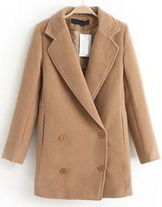 Khaki Lapel Long Sleeve Double Breasted Coat US$43.69