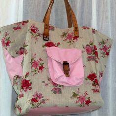 cabas-sac-pomponette lin fleurs