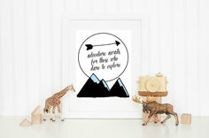 "Instant Download Art Print - ""Adventure Awaits for those who dare to Explore"". Has an adventure / camping feel that looks so cute in a kids room!   Easy and quick to print // Fun and graphic design // DIY // Budget friendly // 8x10 size // High quality image  A super affordable way to display beautiful art on your walls!"