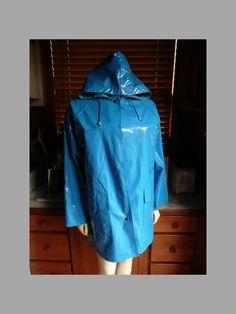 Vintage 80s 90s Wippette Neon Blue Vinyl Hooded Raincoat Coat Jacket  by HeelsOnaShoestring