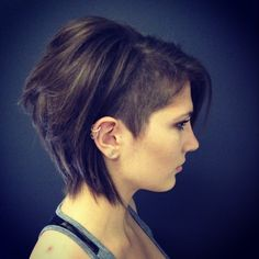 Razored Short Bob Hair CUT with Shaved Side and DESIGN by Danielle Hardy http://cutnj.com