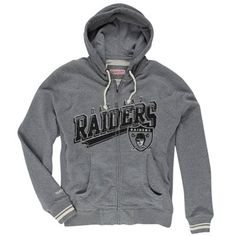 Oakland Raiders Mitchell & Ness Diagonal Sweep Hooded Sweatshirt – Gray