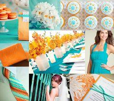 Paleta de cores Azul Tiffany e Laranja