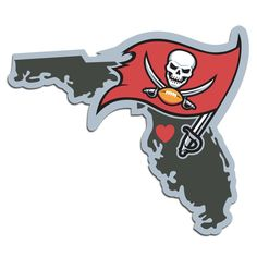 It's a home state decal with a sporty twist! This Tampa Bay Buccaneers decal feature the team logo over a silhouette of the state in team colors and a heart marking the home of the team. The decal is