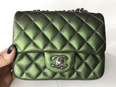 580bc4cf4ba6 Chanel Mini Square Iridescent Green Classic Leather Metallic Handbag Cross  Body Bag