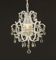 This beautiful Versailles chandelier features one light and crystals that capture and reflect the light of the candle bulb. The timeless elegance of this chandelier is sure to lend a special atmosphere anywhere its placed. Chandelier Bougie, Chandelier Design, Crystal Chandelier Lighting, Mini Chandelier, Bathroom Chandelier, Cheap Chandelier, Closet Chandelier, Painted Chandelier, Country Chandelier