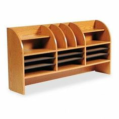"""Safco Radius Front Desktop Organizer - Radius Front Organizer, 16 Sections, 47 1/2 x 9 5/8 x 23 3/4, Medium Oak by Safco. $343.70. Sorters. Desk Accessories & Workspace Organizers. Affordable organizer with attractive radius front allows convenient access to stored materials. Adjustable hardboard shelves support up to 15 lbs. and feature black plastic molding that doubles as a labeling system. 5/8"""" compressed wood cabinetry with laminate finish. Top shelf: Four horizontal, t..."""