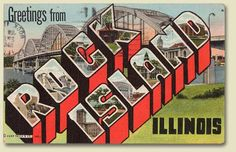 1945 Rock Island, Illinois Large LetterPostcard