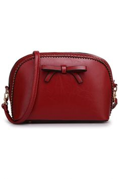 Candy Color Bowknot PU Leather Handbag