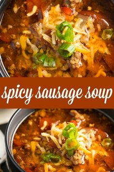 Sausage Soup Spicy Sausage Soup - Filled with hot Italian sausage, red peppers and tomatoes. This soup packs a powerful flavour punch!Spicy Sausage Soup - Filled with hot Italian sausage, red peppers and tomatoes. This soup packs a powerful flavour punch! Spicy Italian Sausage Recipe, Sausage Crockpot Recipes, Italian Sausage Soup, Chili Recipes, Recipes With Hot Sausage, Ground Italian Sausage Recipes, Sausage Chili, Italian Sausages, Italian Recipes