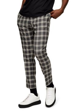 Classic checks add vintage-cool character to elastic-waist jogger pants fashioned with just the right amount of stretch.