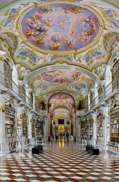 Admont Abbey in Styria, Austria: the biggest library of a monastery in the world. A baroque jewel and it was called the 8th world wonder ...