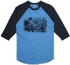 theIndie Seals and Sea lions (Black) 3/4-Sleeve Raglan Baseball T-Shirt