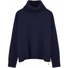Ille De Cocos - Side Zip Roll Neck Sweater Navy ($254) ❤ liked on Polyvore featuring tops, sweaters, shirts, navy blue top, side zipper sweater, side zip sweater, navy blue sweater and cuff shirts