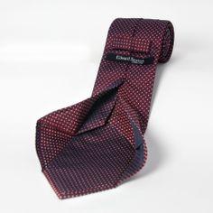 Seven fold burgundy silk tie by edward sexton.