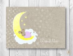 Thank You Note Cards | Pink Puppy on the Moon Thank You Notes | Baby Thank You Note Cards