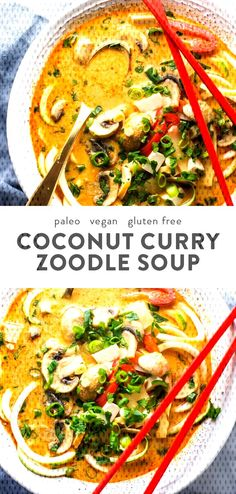 This paleo coconut curry zoodle soup is quick and delicious, loaded with creamy coconut milk, intensely flavorful red curry paste, and zoodles. This recipe is a wonderful paleo dinner or paleo soup recipe to add to your collection. Low carb yet fil Vegan Zoodle Recipes, Healthy Soup Recipes, Seafood Recipes, Whole Food Recipes, Cooking Recipes, Seafood Soup, Cooking Kale, Cooking Steak, Cooking Bacon