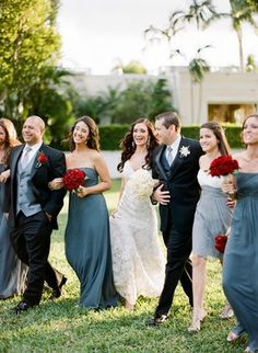 Wedding party, grey dresses, red roses