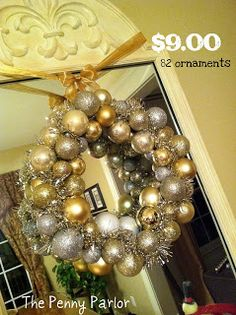 Dollar Store Christmas ball wreath - super easy!!