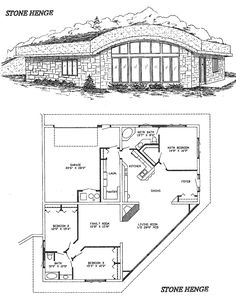 Stone Henge Home Design--close off the family room to make office and compact overall size=great potential!