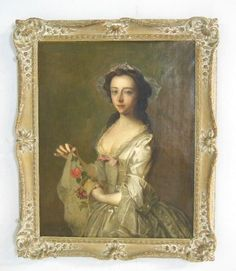 Philippe Mercier,dated 1740, famous French portrait artist. Image approx. 36 H x 28 W, 43 H x 34.5 W with frame.
