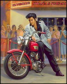 New Elvis Harley Painting By David Uhl Motorcycle Art, Bike Art, Chopper Motorcycle, Motorcycle Posters, David Mann Art, Illustrations Vintage, Elvis Presley Photos, Retro Stil, Tarzan