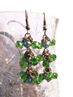 Green Beaded earrings Cluster earrings Glass by AutomatedButterfly