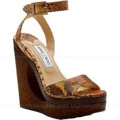 Jimmy Choo Multi Colour Python Wedge Sandals