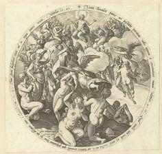 Hendrick Goltzius | De gezegenden worden ontvangen in de hemel, Hendrick Goltzius, 1575 - 1579 | Ronde voorstelling van de aankomst van de gezegenden in de hemel. Engelen begeleiden de zielen naar boven, waar Christus troont temidden van een schare heiligen (onder wie Maria). Om de voorstelling bijbelteksten in het Latijn. Deze prent is onderdeel van een serie van vier ronde prenten met Laatste Oordeelscènes.