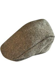 A flat cap. Tweed.
