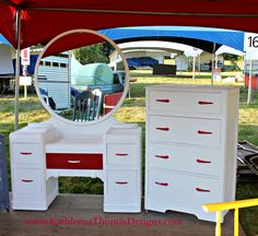 Circle Mirror Waterfall Vanity and 4 drawer dresser in White with Red Accents. Painted furniture, ASCP, Pure White and Emperor's Silk Waterfall Furniture, Waterfall Dresser, Furniture Board, Furniture Ideas, Upholstered Furniture, Painted Furniture, Old Trunks, 4 Drawer Dresser, Dressing Tables