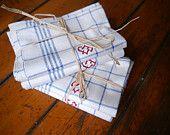 Vintage Linen Towels Blue Plaid Red Monogram EJ Teatowels Unused Antique German Dish Cloth 1920s Shabby Chic Kitchen Set of Two