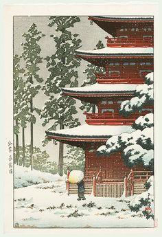 aleyma: 1936Kawase Hasui (Japanese, 1883-1957) ~ Sashoin Temple in Snow, Hirosaki, Japan;source