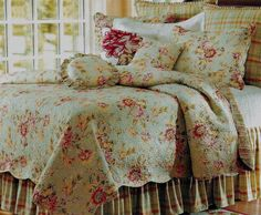 The Country Porch features the Talia Quilt and bedding accessories from C&F Enterprises. King Quilt Sets, King Size Quilt, Queen Quilt, Chic Bedding, Quilt Bedding, Twin Quilt, Waverly Bedding, Quilt Pillow, Best Bedding Sets