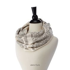 Storiarts soft cotton infinity scarves are silkscreened by hand with passages from classic novels.