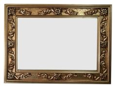French decorative hand carved wood solid frame ornate hand painted finish in gold red wash