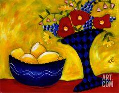 Lemons Harlequin Art Print by Julie Fillo at Art.com