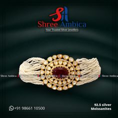 Your search for the most gorgeous beads, 92.5 silver and Moissanites encrusted choker ends here at Shree Ambica - Your Trusted Silver Jewellers. Pick this for the upcoming festive/wedding season. Readily available in stock For Price and Details Message on - +919866110500 #ShreeAmbica #TrustedJewellers #SilverJewellery #indianbride #indianwedding #jewelryaddict #handcraftedjewellery #finejewellery #weddingsutra #jewelryforsale #jewelryswag #jewelrygoals #musthave #sterlingsilverjewelry… Wedding Sutra, Wedding Season, Handcrafted Jewelry, Sterling Silver Jewelry, Fine Jewelry, Chokers, Jewels, Design, Handmade Chain Jewelry