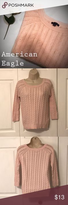 Pink AE Sweater Thank you for checking out my closet! My name is Alexis and if you have any questions just let me know and I'll reply as quick as I can!   This is a American Eagle pink sweater. It is very soft and comfortable. It has been worn but still in great condition! American Eagle Outfitters Sweaters