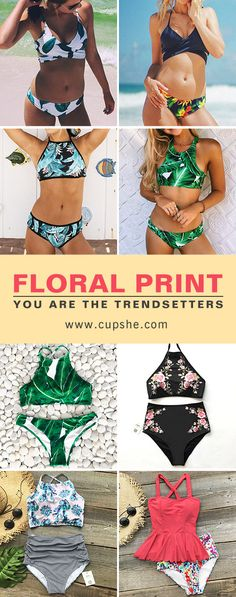 Long time away beach or pool? It's time to refresh your life with Cupshe floral & leafy bikinis. Step on the sand, sit on or walk along the beach, enjoy the genial sunlight and cool breeze. Comfortable and confident. FREE shipping. Check them out!